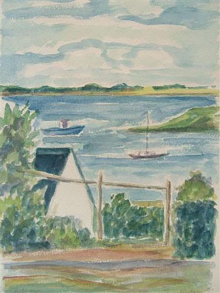 Jyllinge Havn, live, akvarel, ca. 1995