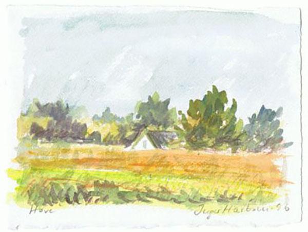 Jyderup Skov, eng, live, akvarel, ca. 1997