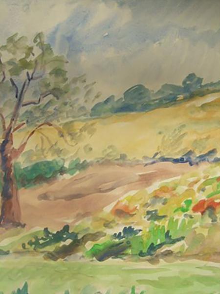 Kårup, sommer, akvarel, ca. 1980