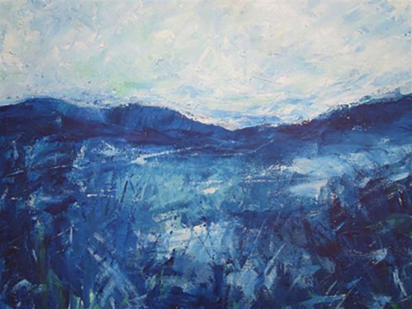 Fantasi, bjerge, akryl, ca. 2010