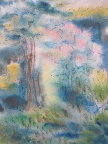 Min have, japansk papir, akvarel