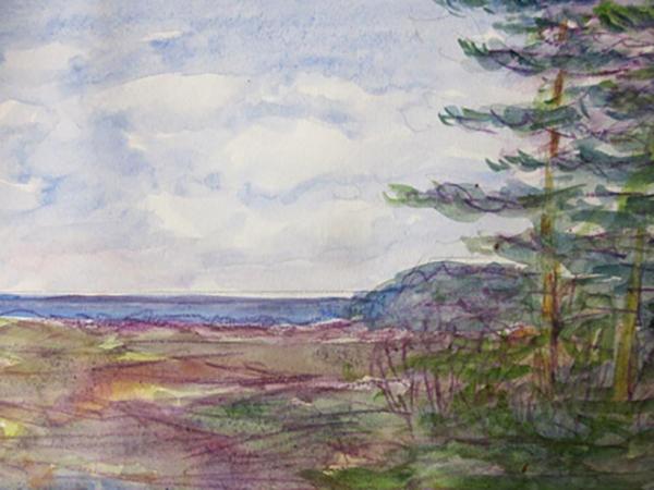 Høve Strand, strandengen, akvarel