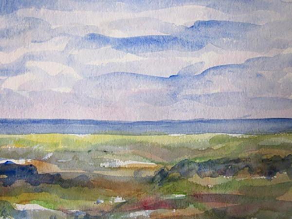 Fantasi, strand, akvarel