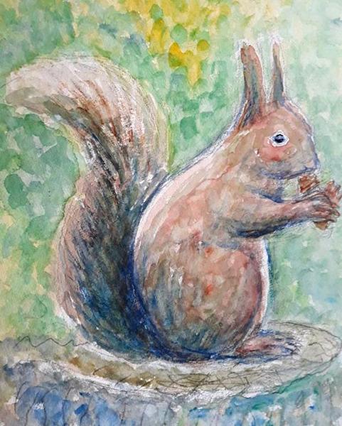 Egern, akvarel, 2019