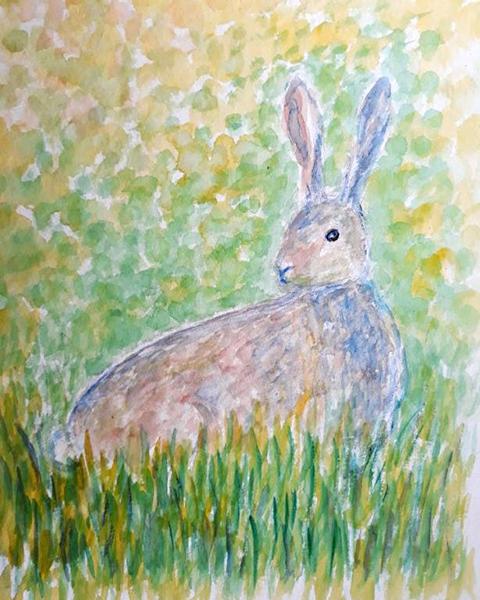 Hare, akvarel, 2019