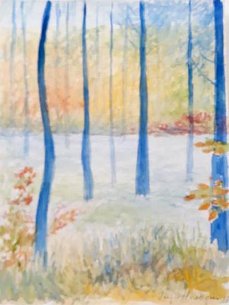 Hareskoven, akvarel, ca. 2019