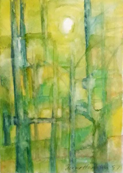 Fantasiskov, akvarel