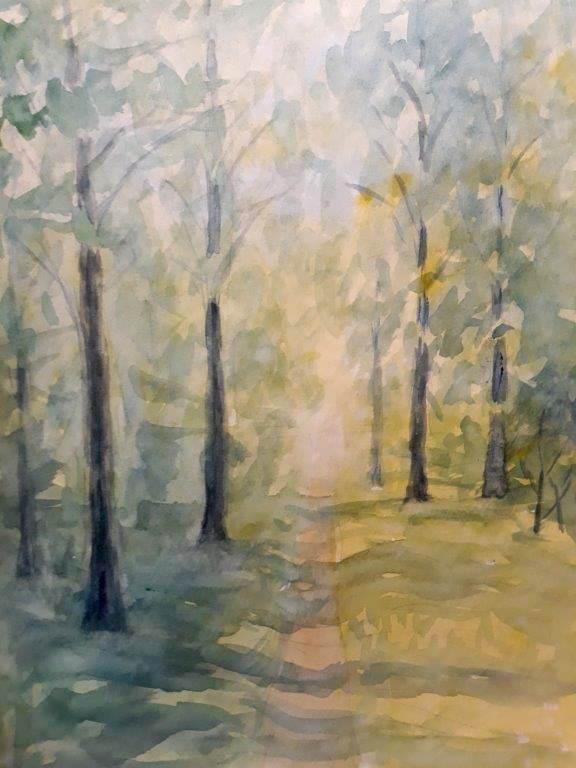 Jyderup Skov, efterår, akvarel, 2020
