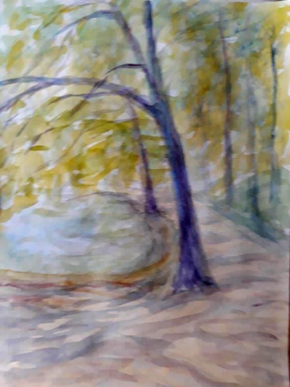 Sophienholm, efterår, akvarel, 2020