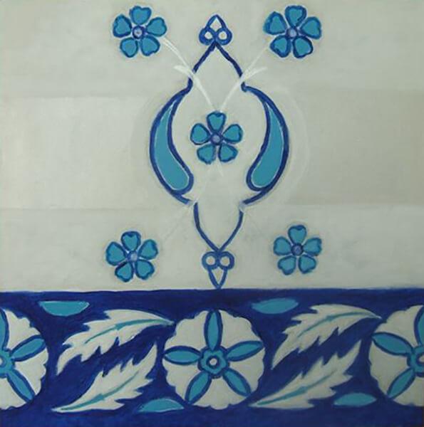 Blå blomster, akryl, 2009