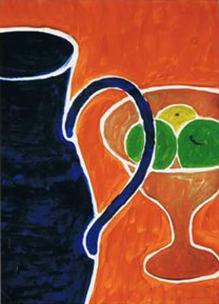 Kande og frugtskål, akryl, ca. 1999