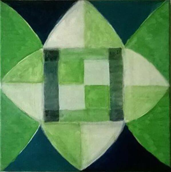 Abstrakt billede, grøn, akryl