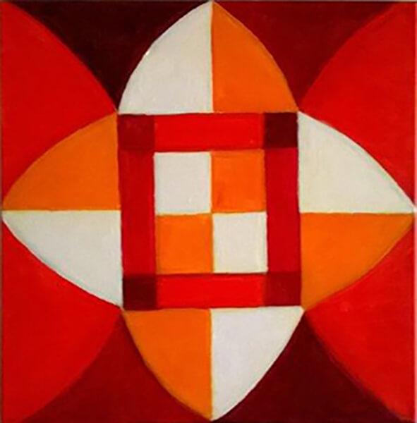 Abstrakt billede, rød, akryl