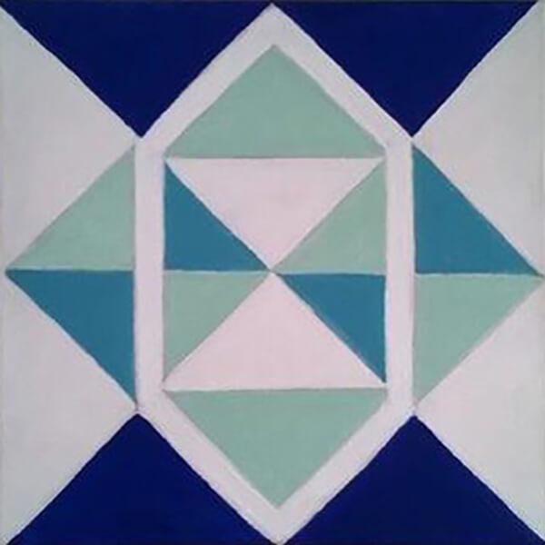 Abstrakt Pyramidebillede, blå, akryl