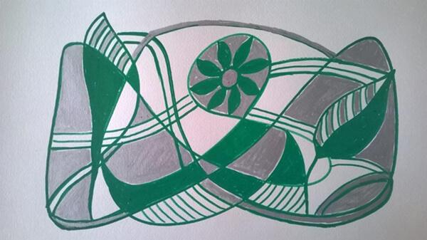 Abstrakt maleri grøn og sølv, posca-farver