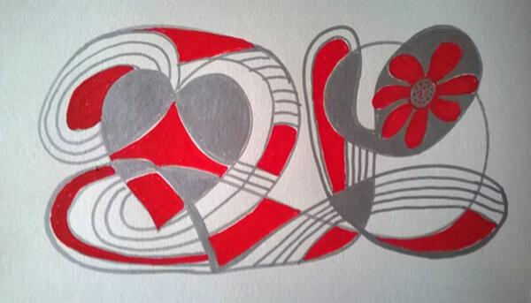 Abstrakt maleri rød og sølv, posca-farver