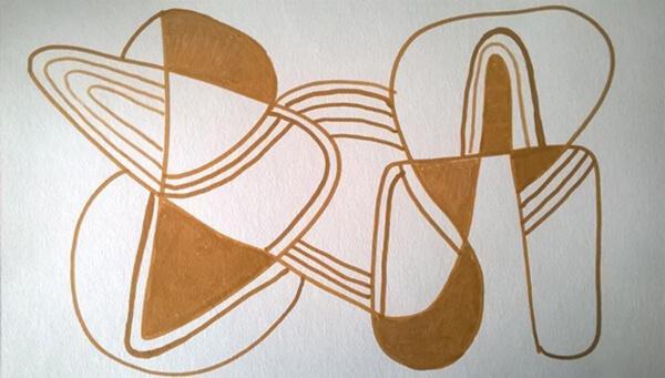 Abstrakt maleri guld, posca-farver