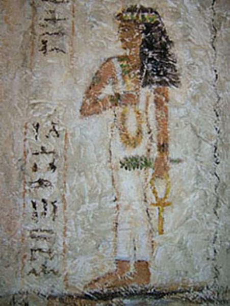 Kvinde, ægyptisk vægmaleri, decoupage, ca. 1997