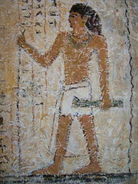 Mand, ægyptisk vægmaleri, decoupage, ca. 1997