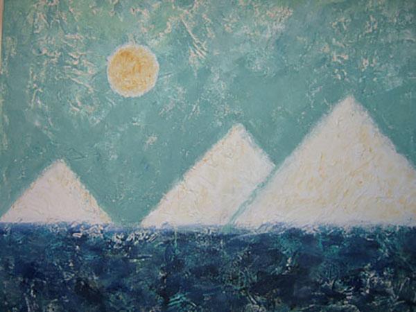 Pyramiderne i Giza, decouage med akryl, 2005