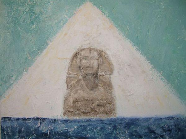Sfinks, decoupage med akryl, 2005