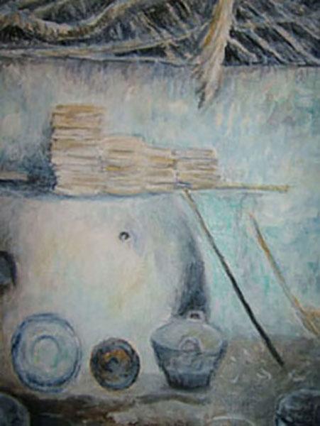 Nubisk hjem, Ægypten, Akryl, 1998