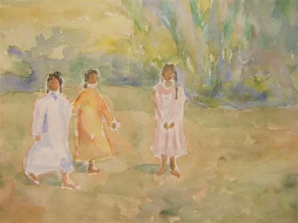 Sydlandsk motiv, akvarel