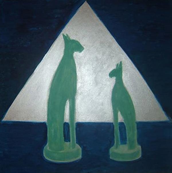 Ægyptiske katte af alabast, akryl, ca. 2000
