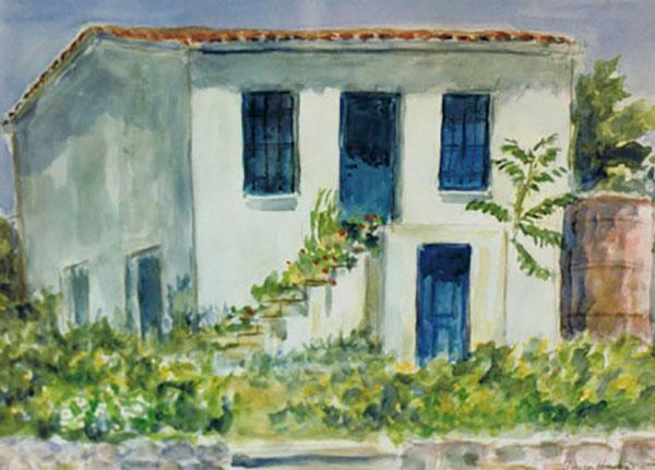 Mytillini, hus, akvarel -1990
