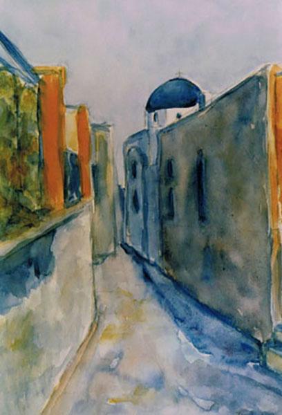 Santorini, gadebillede, akvarel, 1990