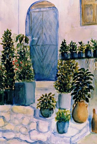 Græsk billede, akvarel, 1990