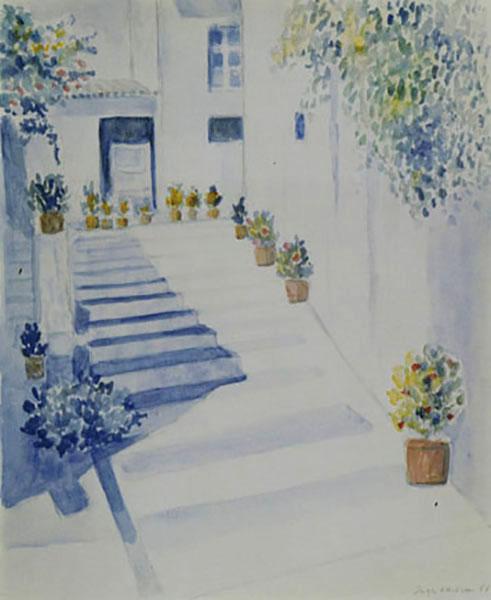 Santorini, trappe, akvarel, 1990