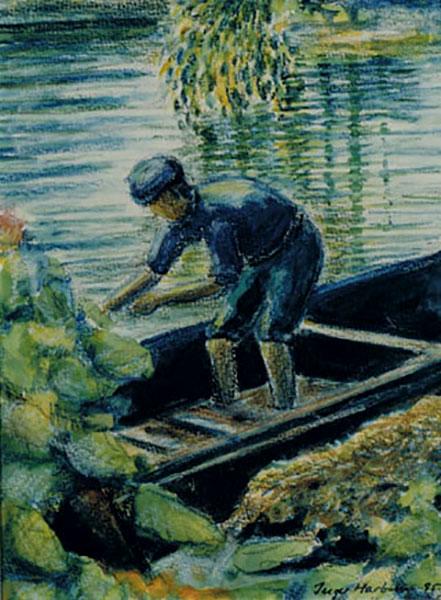 Kinesisk motiv, mand i båd, akvarelstift