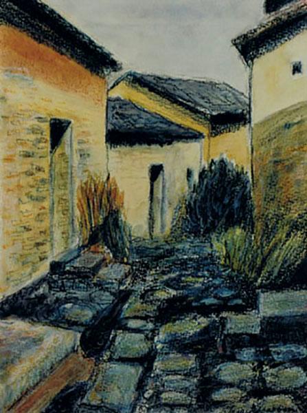 Kinesisk motiv, gade, akvarelstift