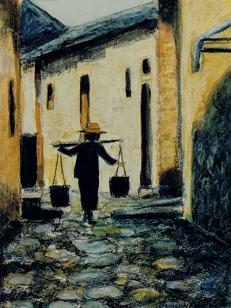 Kinesisk motiv, vandbærer, akvarelstift