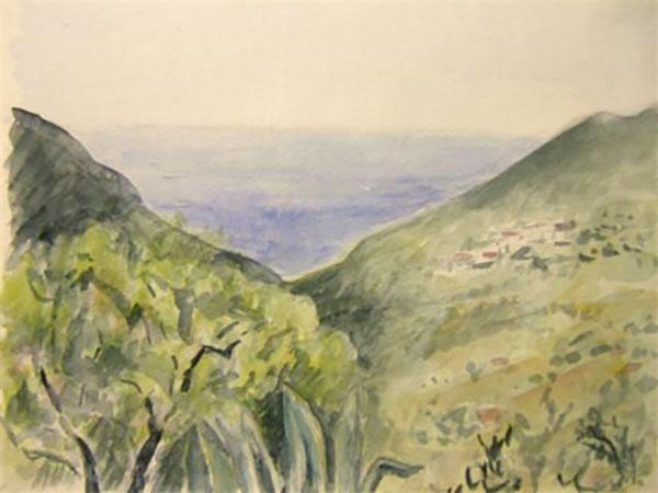 Competa, Spanien, bjerglandskab - akvarel