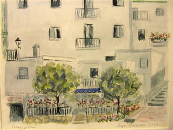 Competa, Spanien - akvarel