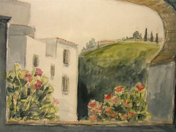 Competa, Spanien, spansk hus - akvarel