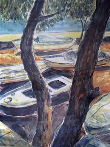 Mytillini, både, akvarel -1990