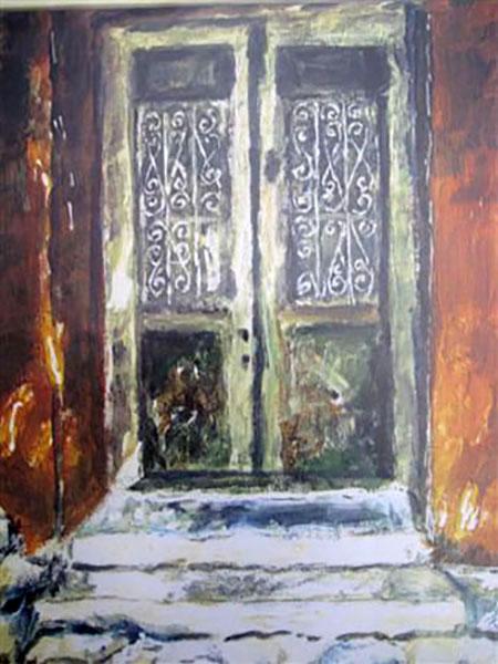 Mytillini, dør, akvarel -1990