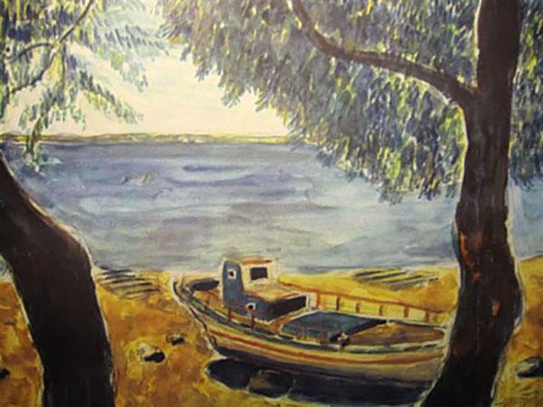 Mytillini, båd, akvarel -1990