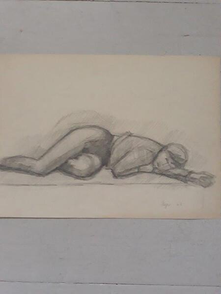 Liggende kvinde, blyant (tegnekursus)