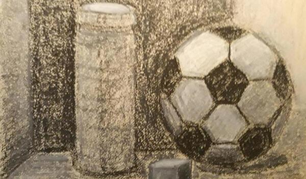Opstilling med fodbold, kul