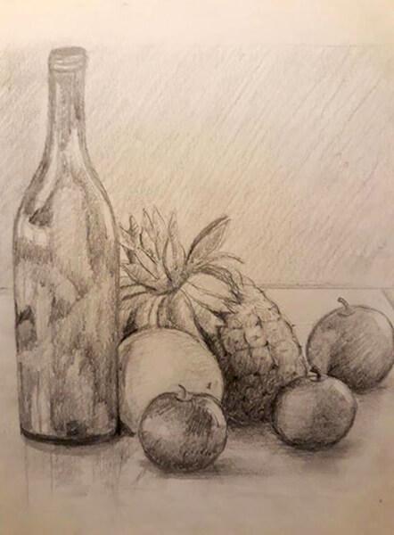 Opstilling med ananas, blyant