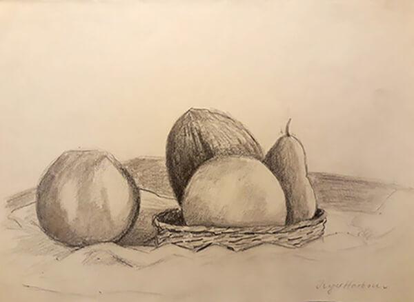 Opstilling med kokosnød, blyant