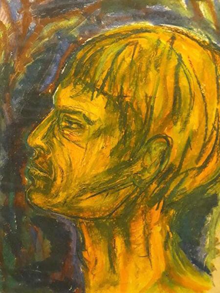 Mandsprotræt, pastelkridt, 1962