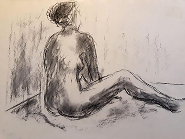 Croquis, siddende kvinde, kul