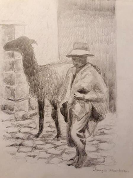 Inkaindianer med lama, blyant
