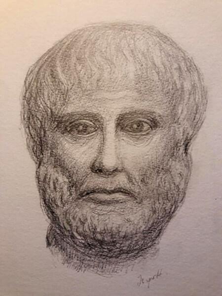 Aristoteles - gipsbuste, blyant