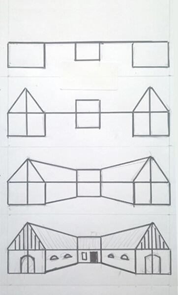 Sådan tegner du en bondegård med perspektiv